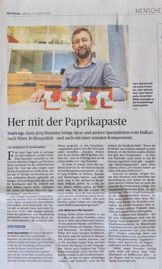 """Zeitungsbericht über BioBalkan in der Tageszeitung """"Die Presse"""""""