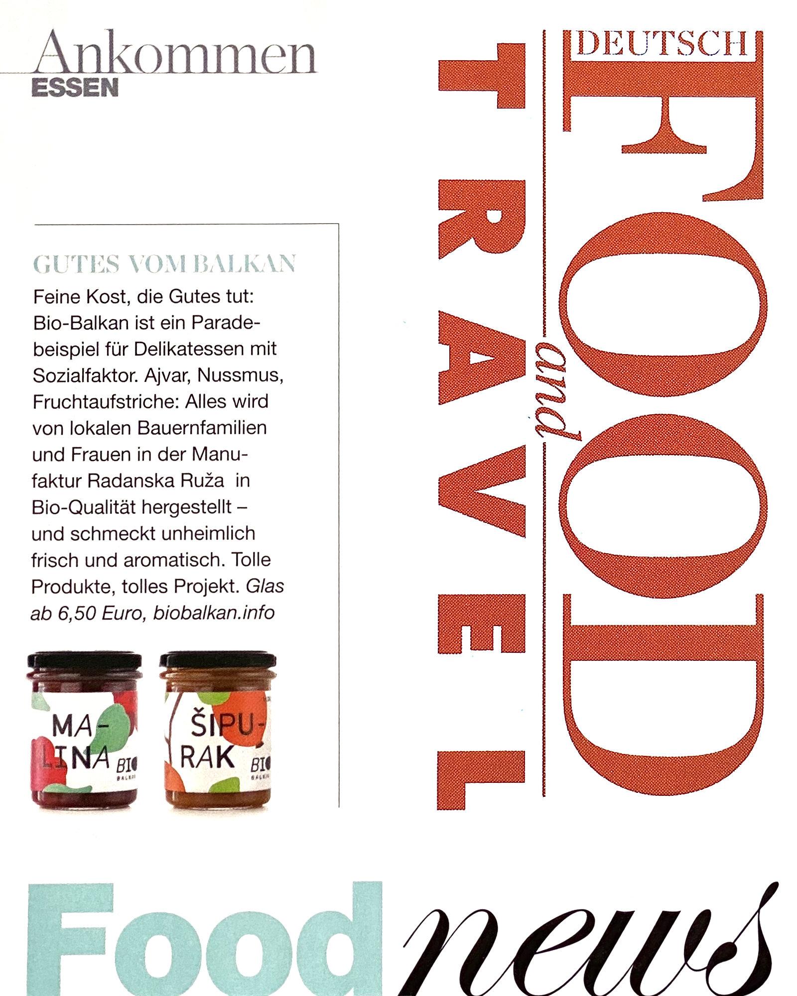 Bericht über BioBalkan im Magazin Food&Travel Deutschland