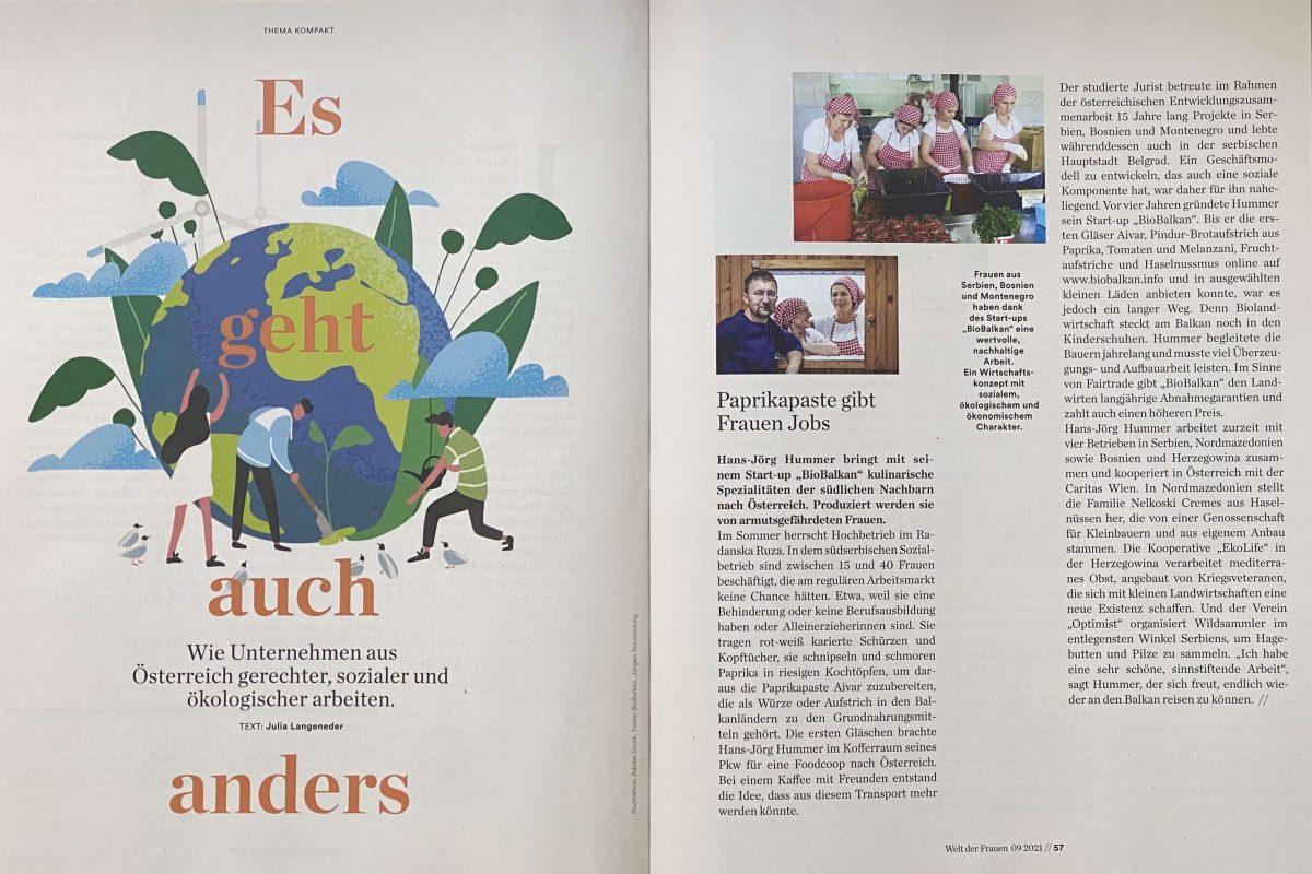Das Magazin Welt der Frauen stellt BioBalkan als nachhaltiges und soziales Unternehmen vor.